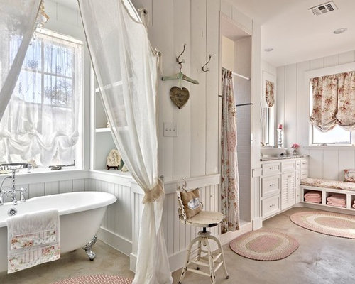 shabby chic style badezimmer mit betonboden ideen design bilder houzz. Black Bedroom Furniture Sets. Home Design Ideas