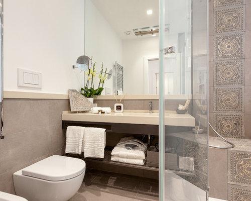 piccolo bagno con piastrelle marroni - foto, idee, arredamento - Bagni Moderni Beige E Marrone