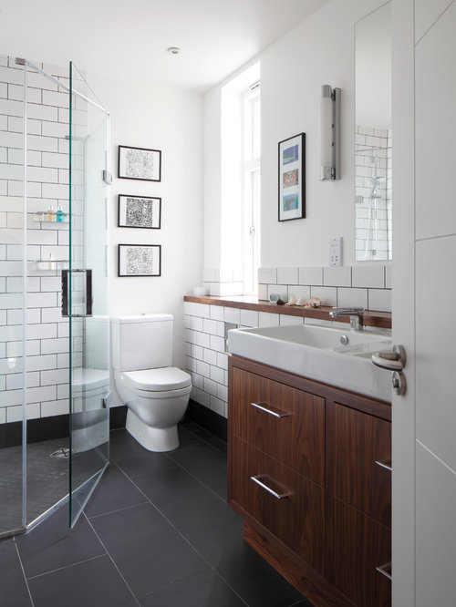 White wall dark floor houzz for Dark wood bathroom designs