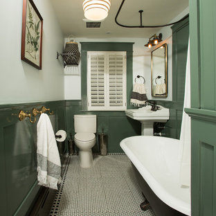 Small elegant 3/4 white floor bathroom photo in DC Metro with a two-piece toilet, white walls and a pedestal sink
