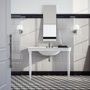 Bathroom - contemporary multicolored tile and ceramic tile bathroom idea in Boise