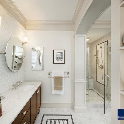 Elegant mosaic tile bathroom photo in Boston