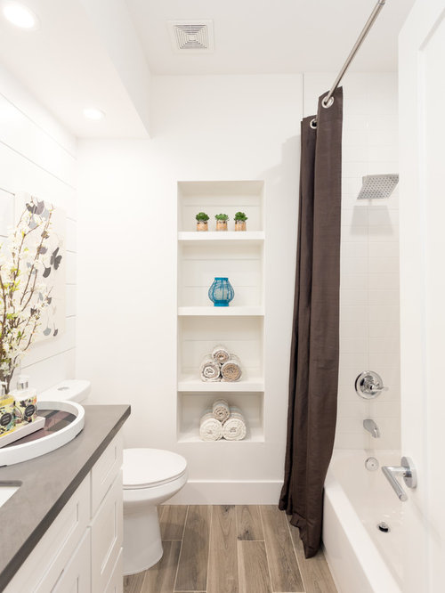 Small Transitional White Tile And Ceramic Tile Ceramic Floor Bathroom Idea  In Sacramento With Shaker Cabinets Part 72
