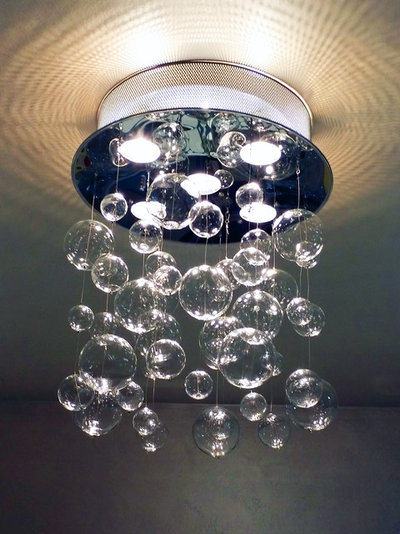Amazing Bathroom ROTD Bubble Tile by homeowner Jan Ferris The glass bubble chandelier