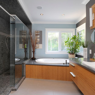 Example Of A Trendy Gray Tile And Mosaic Bathroom Design In Toronto With Drop