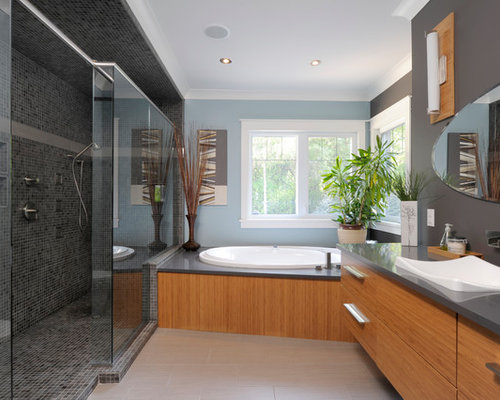 Example Of A Trendy Gray Tile And Mosaic Tile Bathroom Design In Toronto  With A Drop