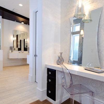 Bathroom - contemporary beige tile bathroom idea in Austin