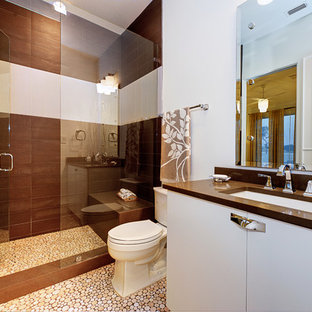 Inspiration for a contemporary brown tile alcove shower remodel in Austin with an undermount sink, flat-panel cabinets, white cabinets and brown countertops