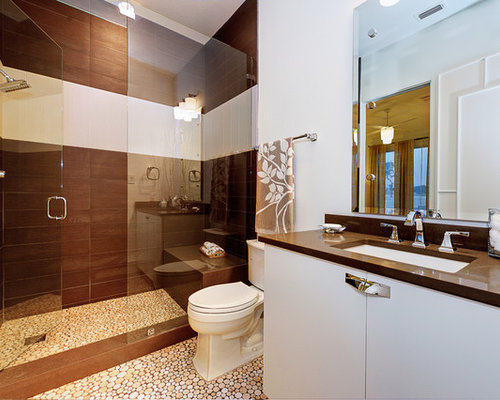 Inspiration For A Contemporary Brown Tile Alcove Shower Remodel In Austin  With An Undermount Sink,