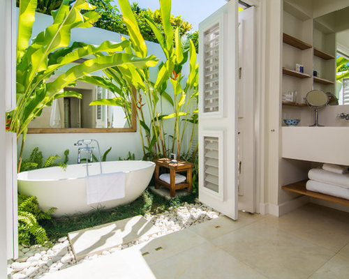 Tropical bathroom design ideas remodels photos for Bathroom ideas in jamaica