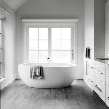 Rowayton Transitional Beach House - Master Bath