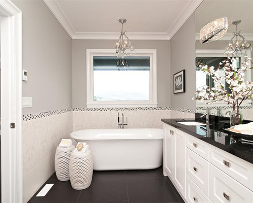 Trendy Bathroom Photo In Vancouver With An Undermount Sink, Recessed Panel  Cabinets, White