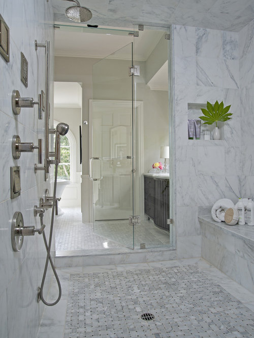 Carrara marble bathroom home design ideas pictures for Carrara marble bathroom floor designs