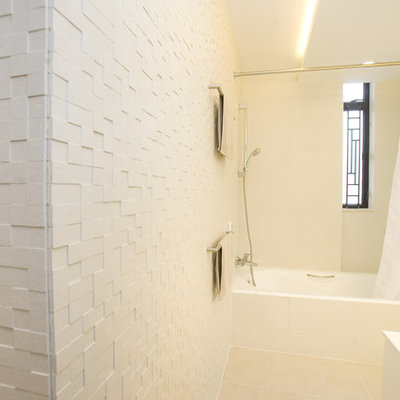 Trendy white tile and mosaic tile bathroom photo in Hong Kong