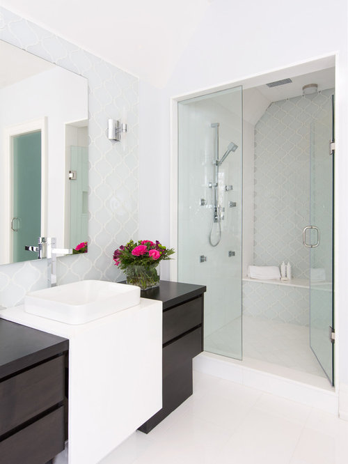 Contemporary Blue Tile And Gl Marble Floor Alcove Shower Idea In Toronto With A Vessel