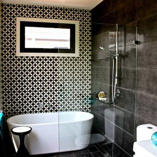 Modern Tub/Shower Combo with Black Walls Design Ideas & Remodeling ...