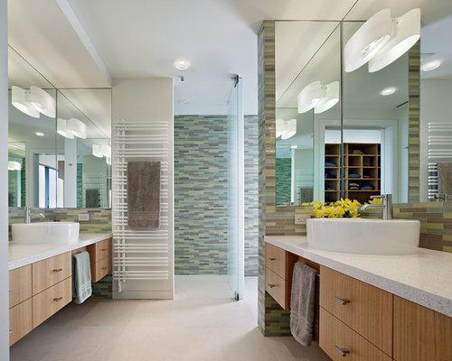 Salle De Bain grande salle de bain contemporaine : Salle de bain contemporaine avec un plan de toilette en terrazzo ...