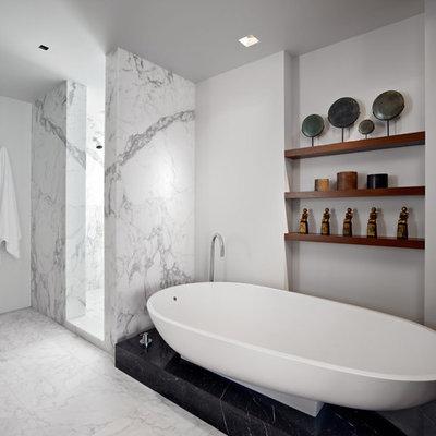 Bathroom - modern white tile and marble tile bathroom idea in San Francisco