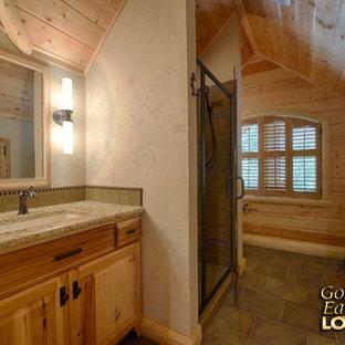 Rustic bathroom cathedral ceiling log trim knotty pine Lakehouse 4166AL