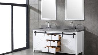 Rustic bathroom Idea with Barn door vanity