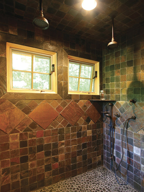 Custom tile shower home design ideas pictures remodel for Cabin shower tile ideas