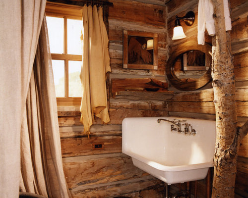 Cabin bathroom houzz for Small rustic bathroom designs