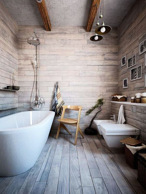 modern rustic bathroom design ideas remodels photos with light hardwood floors. Black Bedroom Furniture Sets. Home Design Ideas