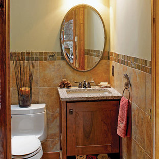 Example of a small arts and crafts 3/4 multicolored tile and stone tile medium tone wood floor bathroom design in Minneapolis with shaker cabinets, medium tone wood cabinets, a one-piece toilet, beige walls, an undermount sink and quartz countertops