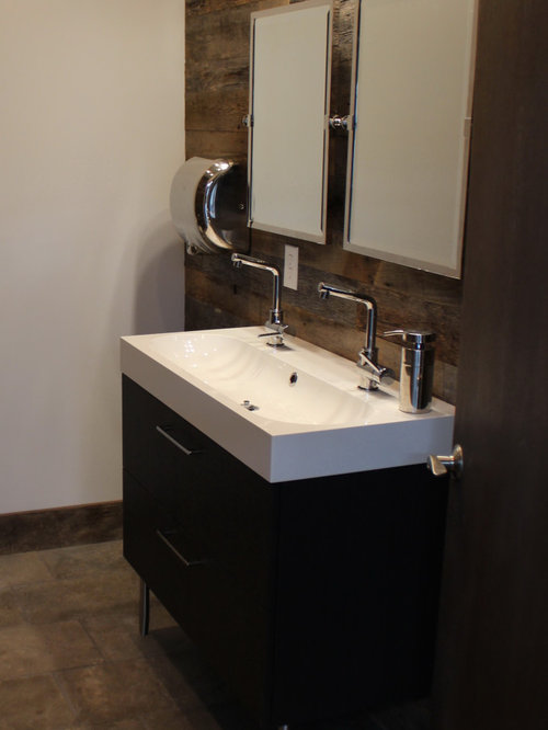 Reclaimed Weathered Barnsiding And French Limestone Floors Commercial Restroom