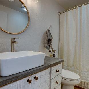 Rustic Farmhouse Bathroom White Washed Vanity