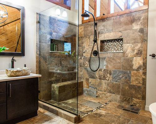 example of a mid sized mountain style master doorless shower design in other with a - Bathroom Tiles Kendal