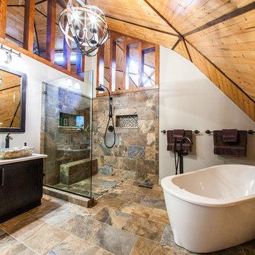 Rustic Geodesic Master Bathroom