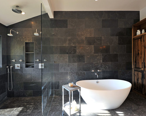 Superb Inspiration For A Rustic Gray Tile And Stone Tile Bathroom Remodel In Los  Angeles