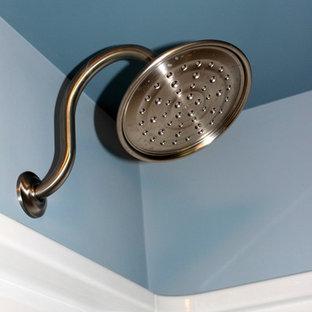 Diseño de cuarto de baño principal, rural, de tamaño medio, con puertas de armario de madera en tonos medios, combinación de ducha y bañera, sanitario de una pieza, paredes azules, suelo de madera clara, lavabo bajoencimera y encimera de mármol