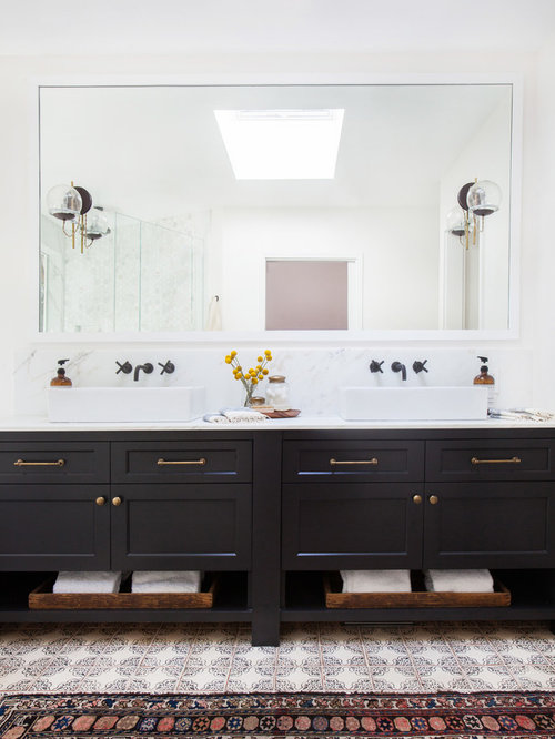 Inspiration For A Bathroom Remodel In Los Angeles With A Vessel Sink And  Black Cabinets