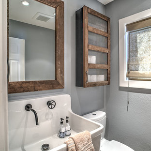 Small mountain style porcelain tile porcelain floor bathroom photo in San Francisco with a wall-mount sink, furniture-like cabinets, distressed cabinets, a two-piece toilet and gray walls