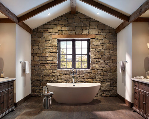 Stone Wall Bathroom | Houzz