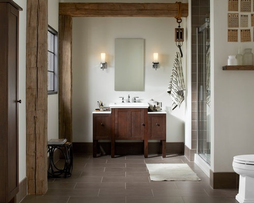 Example of a mid sized arts and crafts master brown tile alcove shower  design in. Kohler Tresham Vanity   Houzz