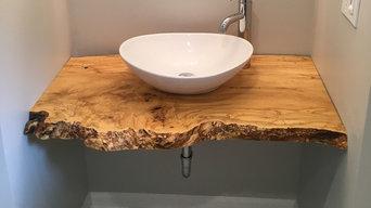 Rustic wood vessel sink bathroom