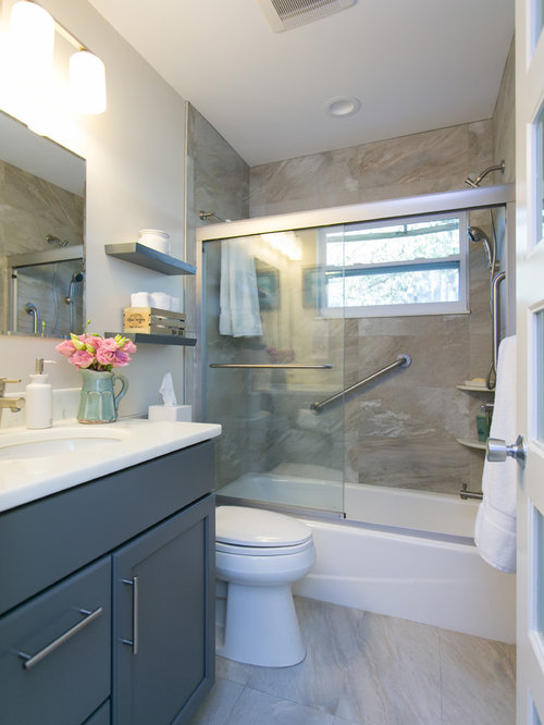 Grey bathroom cabinets houzz for Bathroom ideas grey vanity