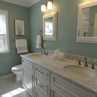 Inspiration For A Mid Sized Transitional Master Gray Tile Multicolored White Save Photo Sage Green Carrera Marble Bathroom