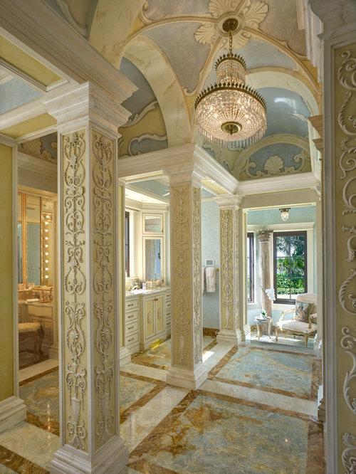 Mediterrane Badezimmer mit gelben Schränken Ideen, Design & Bilder ...