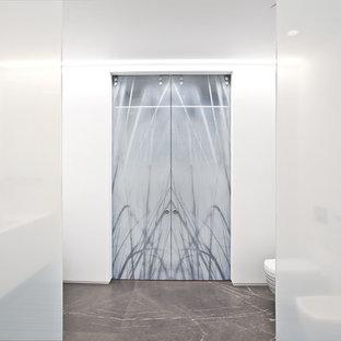 Bathroom - large modern master white tile and porcelain tile concrete floor and black floor bathroom
