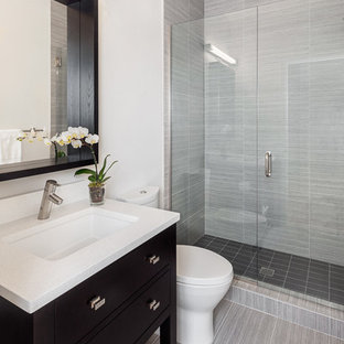 Example of a small transitional 3/4 gray tile alcove shower design in Seattle with an undermount sink