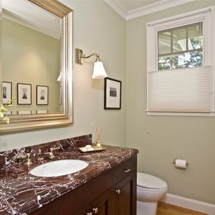 Mid-sized elegant 3/4 medium tone wood floor bathroom photo in San Francisco with recessed-panel cabinets, dark wood cabinets, a one-piece toilet, beige walls and an undermount sink