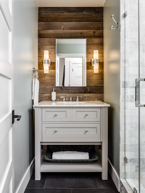 Rustic bathroom design ideas remodels photos for Small rustic bathroom designs