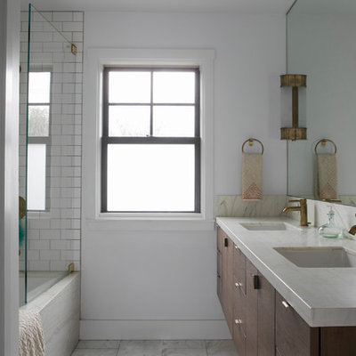 Bathroom - mid-sized transitional bathroom idea in San Francisco with flat-panel cabinets, medium tone wood cabinets, a one-piece toilet, white walls, an undermount sink and quartz countertops
