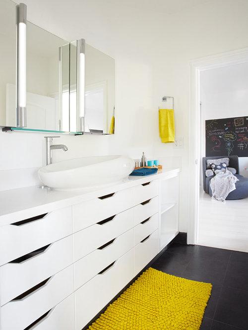Trendy Kidsu0027 Porcelain Floor And Black Floor Bathroom Photo In Orange  County With A Vessel