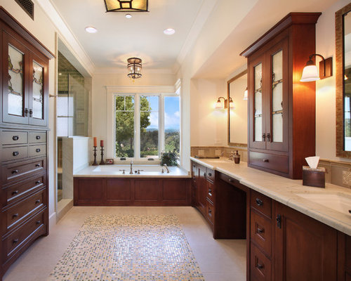 large craftsman master beige tile and mosaic tile ceramic floor and beige floor alcove shower idea