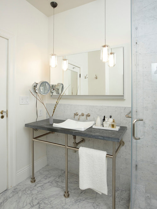 Beautiful Example Of A Classic Gray Tile Bathroom Design In San Francisco With A  Console Sink And